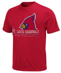 St. Louis Cardinals Red Heathered Submariner Baseball T Shirt by Majestic