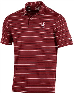 Stanford Cardinal Mens Fashion Stripes Polyester Polo Shirt