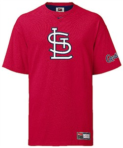 St. Louis Cardinals MLB Red Logo Tackle Twill Embroidered Short Sleeve Tee Shirt By Nike Team Sports