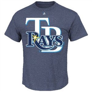 Tampa Bay Rays Men's Heather Navy Run Producer T Shirt by Majestic