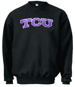 TCU Horned Frogs Black Embroidered Collegiate Crewneck Champion Sweashirt