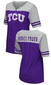 TCU Horned Frogs Juniors Sized V Neck T Shirt- On A Break-Purple