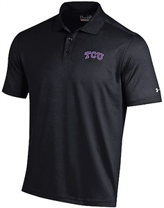 TCU Horned Frogs Mens Black Performance Polo Shirt by Under Armour
