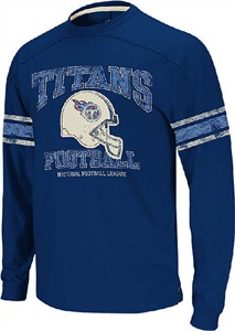 Tennessee Titans 11 Navy Vintage Applique Long Sleeve Shirt by Reebok