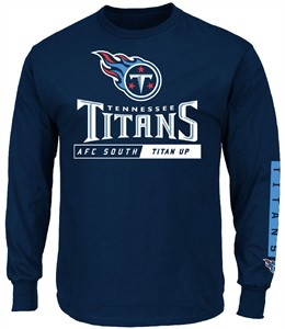 Tennessee Titans Navy Primary Receiver 2 Long Sleeve Football Tee Shirt