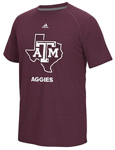 Texas A&M Aggies Adidas Maroon Loyal Fan Climalite Short Sleeve T Shirt