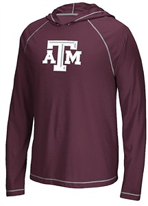 Texas A&M Aggies Extra Point Adidas Ultimate Climalite Hooded Long Sleeve T Shirt
