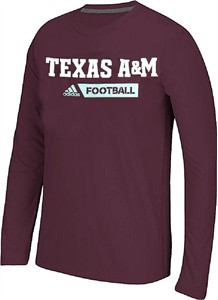 Texas A&M Aggies Adidas Ultimate Sideline Gridiron Performance Long Sleeve T Shirt