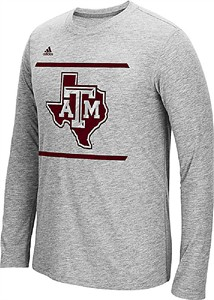 73751bb567b2 Texas A M Aggies Grey Adidas Sidelines Energize Ultimate Polyester Long  Sleeve Shirt