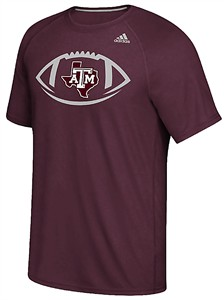 Texas A&M Aggies Maroon Adidas Sideline Pigskin Polyester Synthetic  T Shirt