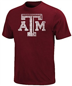 Texas A&M Aggies Maroon Distressed Graphic MensT Shirt by Majestic