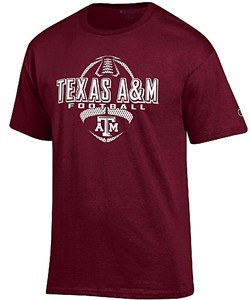 Texas A&M Aggies Maroon Football Short Sleeve T Shirt by Champion