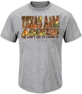 Texas A&M Aggies Men's  Grey Camo Logo Short Sleeve T Shirt