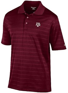 Texas A&M Aggies Mens Maroon Texture Solid Synthetic Polo Shirt on Sale