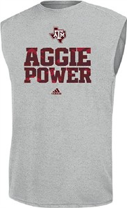 Texas A&M Aggies Sidelines Power Heather Grey Climalite Sleeveless Shirt by Adidas