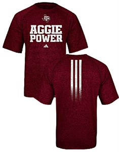 Texas A&M Aggies Sidelines Power Heather Maroon Climalite Shirt by Adidas