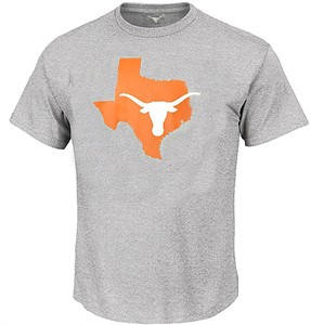Texas Longhorns Adult Athletic Grey Longhorn State Short Sleeve T Shirt on Sale