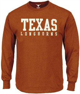 Texas Longhorns Men Tx Orange Campus Classic Long Sleeve T Shirt on Sale