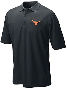 Texas Longhorns Mens Black Silhouette Poly Synthetic Polo Shirt by 289c