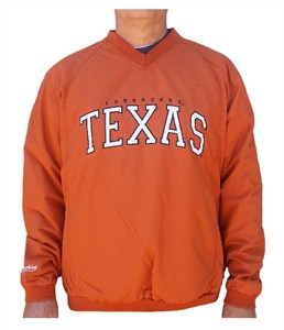 Texas Longhorns Mens Coaches Embroidered V-Neck Pullover Wind Jacket
