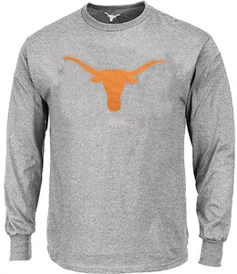 Texas Longhorns Mens Grey Silhouette Long Sleeve Tee Shirt by 289c Apparel on Sale