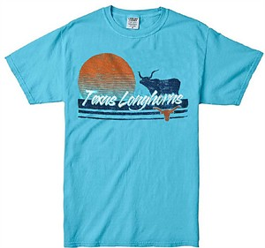 Texas Longhorns Mens Lagoon Blue Texas Tourist Short Sleeve T Shirt on Sale