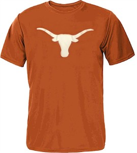 Texas Longhorns Mens Orange Silhouette Polyester T Shirt on Sale
