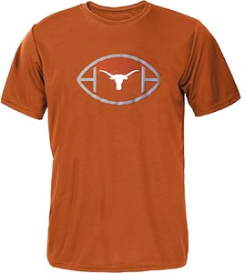 Texas Longhorns Mens Tx. Orange Football Complex Synthetic Poly T Shirt by 289c Apparel on Sale