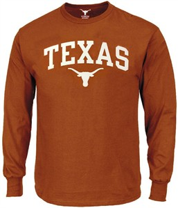 Texas Longhorns Mens UT Orange Arch Long Sleeve T Shirt by 289c Apparel on Sale