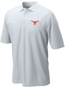 Texas Longhorns Mens White Silhouette Poly Synthetic Polo Shirt by 289c