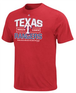 Texas Rangers Men's Red Authentic Experience Tee Shirt by Majestic