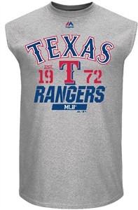 Texas Rangers Mens Grey Flawless Victory Sleeveless Sleeve Tee Shirt by Majestic