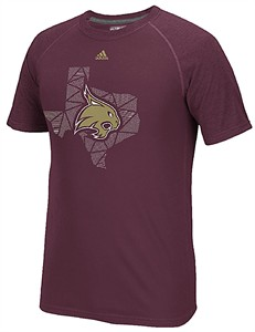 Texas State Bobcats Maroon Geometric Climalite Short Sleeve Shirt by Adidas