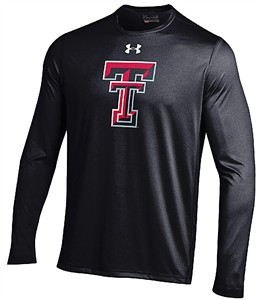 Texas Tech Red Raiders Black Under Armour Logo HeatGear  Long Sleeve Shirt