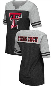 Texas Tech Red Raiders Juniors Sized V Neck T Shirt- On A Break-Black