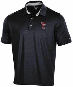 Texas Tech Red Raiders Men's Black Power Logo Champion Synthetic Polo Shirt on Sale