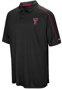 Texas Tech Red Raiders Mens Black Setter Synthetic Poly Polo Shirt