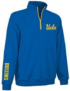 UCLA Bruins Mens Sport Royal Touchdown Embroidered Quarter Zip Pullover Sweatshirt