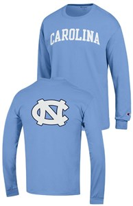 UNC Tar Heels Carolina Blue 2 Sided Arched Long Sleeve T Shirt by Champion