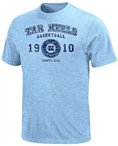 UNC Tarheels Lt. Blue Heather Power Short Sleeve T Shirt by Majestic