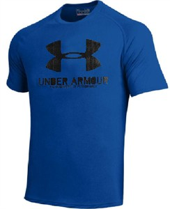 Under Armour HeatGear Activewear Shirt for Men-Dark Royal Short Sleeves on Sale