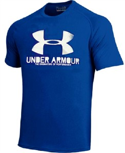Under Armour Mens Deep Blue Poly Dry Distressed Logo Performance Shirt on Sale