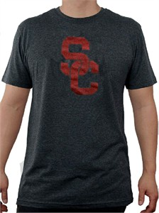 USC Trojans Heather Men's Black Worn Interlock Short Sleeve T Shirt by 289c apparel on Sale