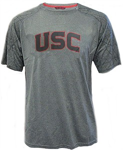USC Trojans Mens Grey Fuller Poly Short Sleeve Shirt by 289c