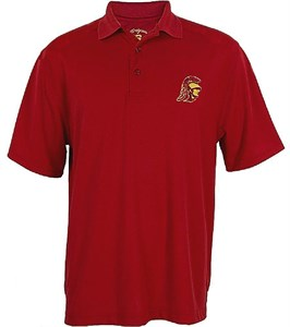 USC Trojans Mens Cardinal Trojan Head Screened Logo Synthetic Polo Shirt on Sale