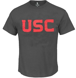 USC Trojans Mens Charcoal Wordmark Short Sleeve T Shirt by 289c Apparel on Sale