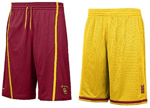 "USC Trojans Varsity Crimson/Gold Nike FIT Dry 12"" Inseam College Reversible Mesh Force Shorts By Nike Team Sports"