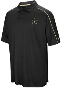 Vanderbilt Commodores Mens Black Setter Synthetic Poly Polo Shirt on Sale