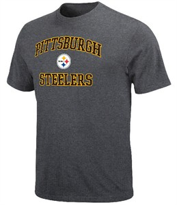 Pittsburgh Steelers Mens Charcoal Heart & Soul T-Shirt on Sale