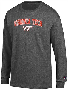 Virginia Tech Hokies Granite Heather Champion Campus Long Sleeve Tee Shirt